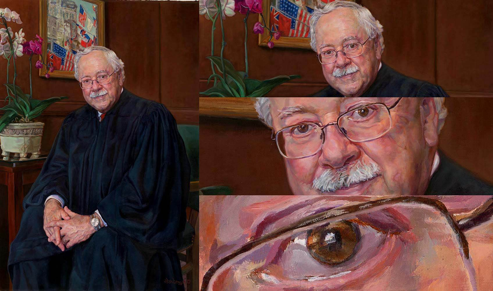 Artist Alan Brown portrait of a Judge scanned by Chica Prints on a large flatbed scanner