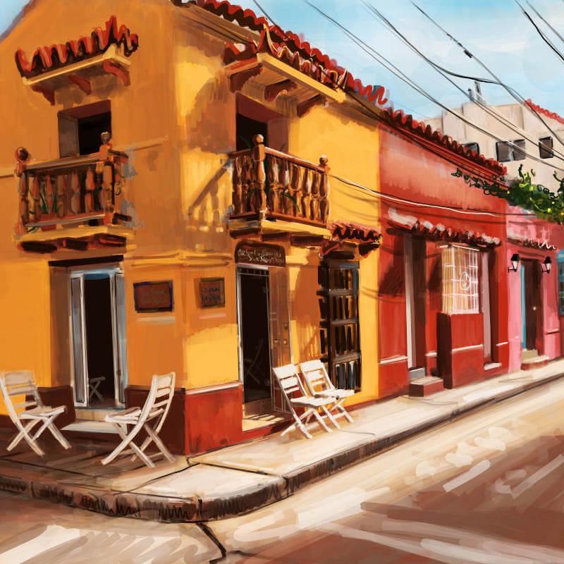 Artist Melanie Nieske painting of a Colombia Street