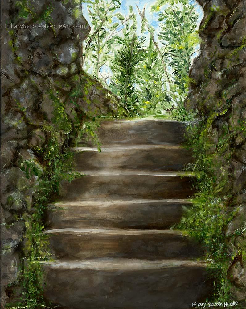 Painter Hillary Serota Needle's high-resolution digital image 'Powerscourt Secret Steps,' scanned by Chica Prints.